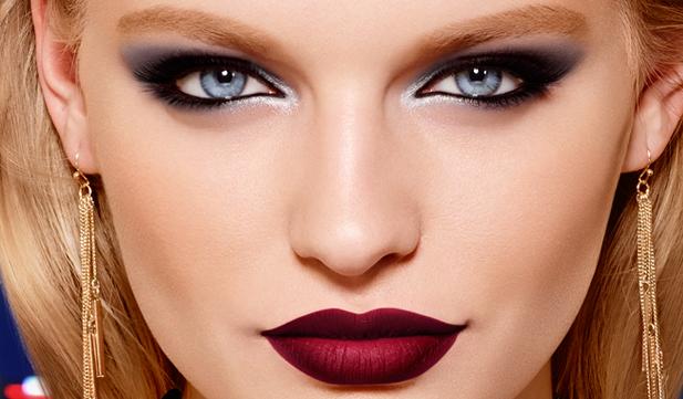 Lábios intensos e olhar profundo